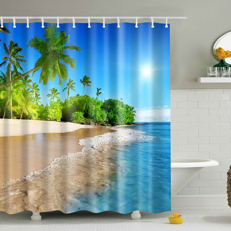 SPA Waterproof Shower Curtain Digital Printing Bathroom Shocking Landscape Shower Curtains extra long