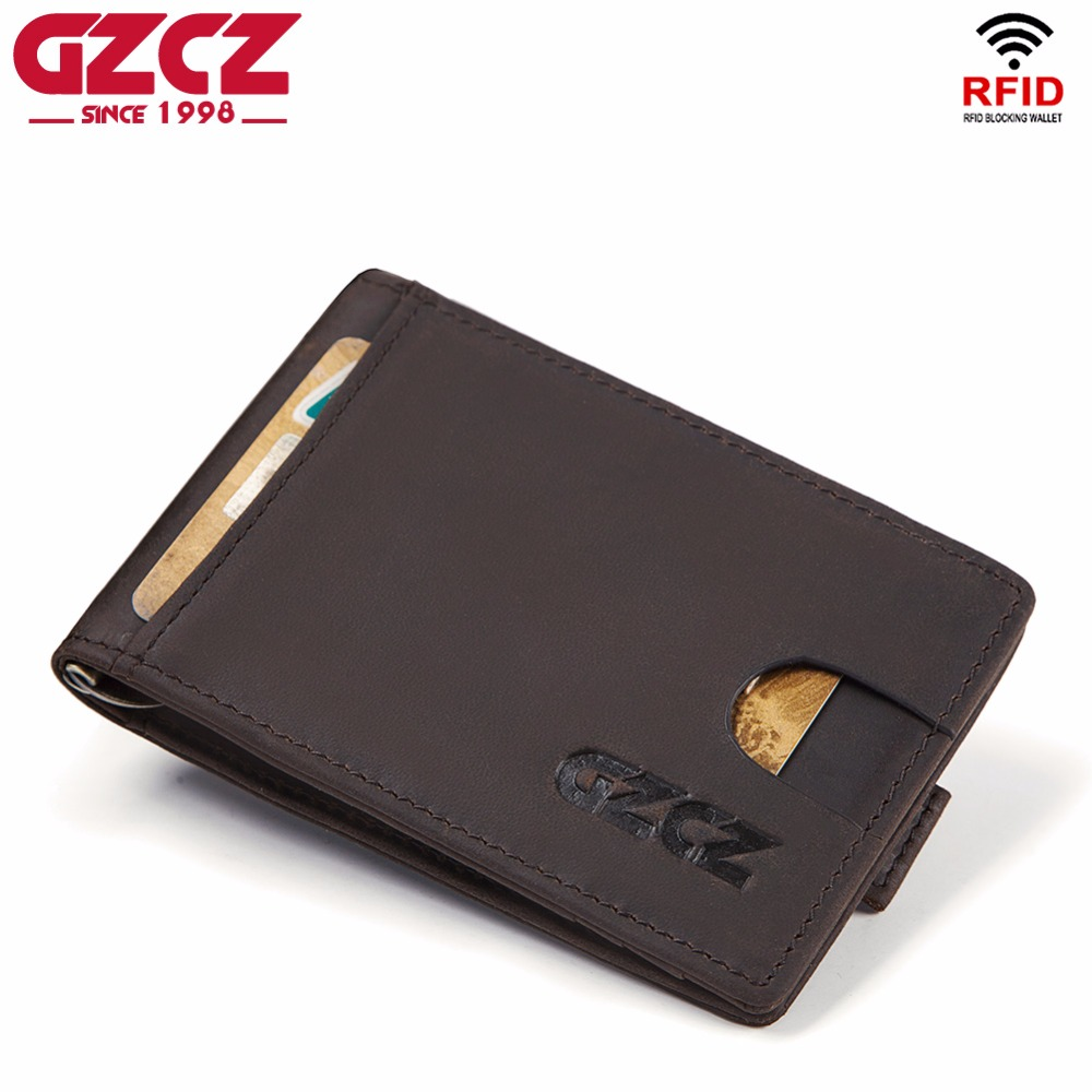 GZCZ Hot! Genuine Crazy Horse Cowhide Leather Money Clips High Quality Rfid Wallets Fashion Mini Purses Vintage Men Wallet Walet