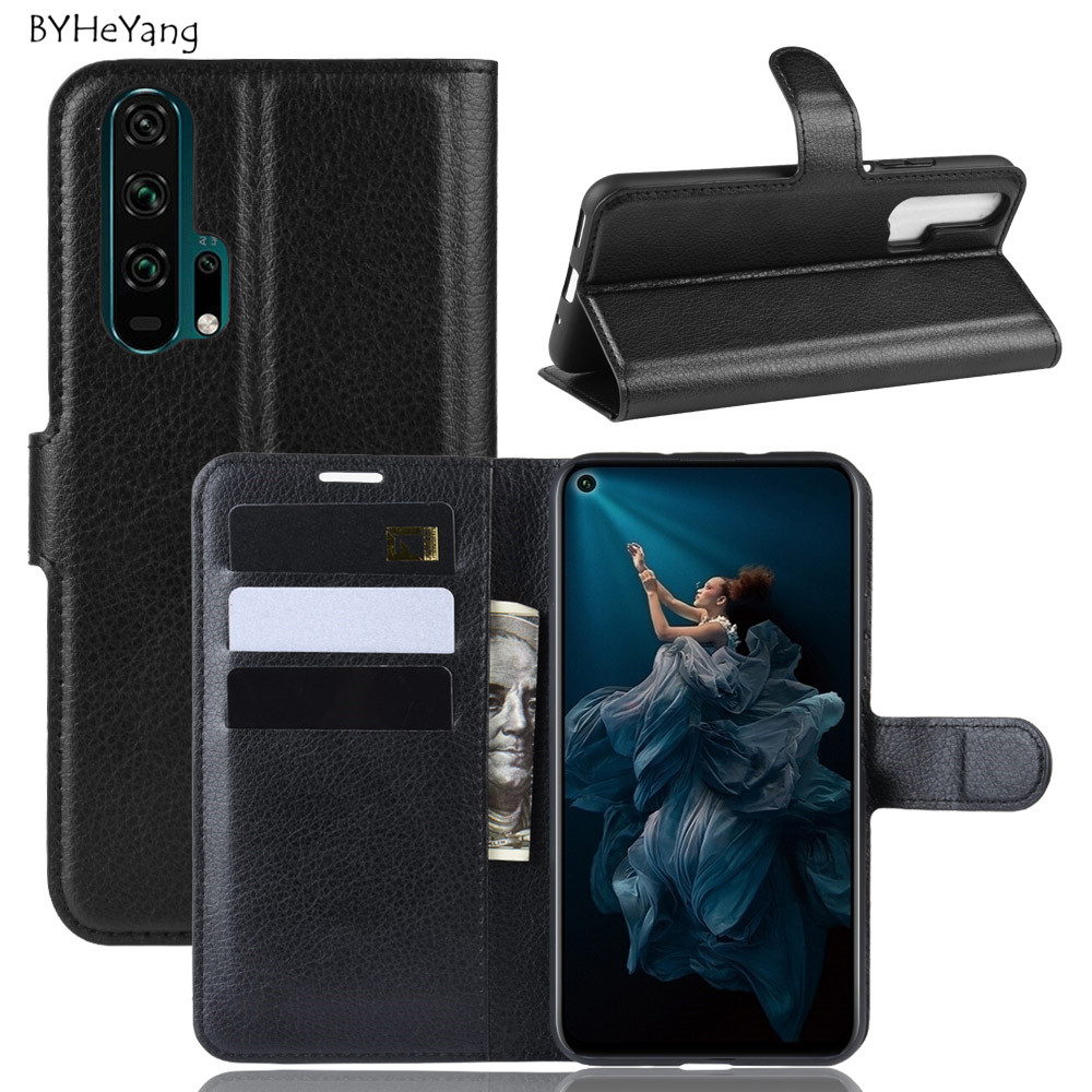 For Huawei Honor 20 Case Honor 20 Pro Cover Leather Wallet Case Card Holder Phone Coque Black Book Cover for Huawei Honor20 Pro image