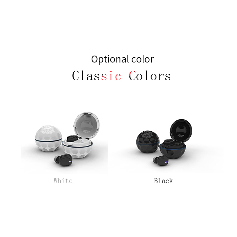 Black White Bluetooth Wireless Earphone In-Ear Earbuds Headset Waterproof With Mic HIFI Stereo Noise Cancelling For Phone Mp3