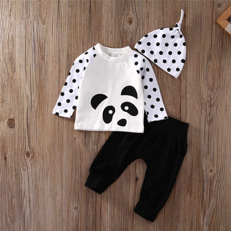 683091ba2f 3PCS Set Newborn Baby Girls Boys Clothes Cute Infant Bebes Panda Dot T-shirt  Tops