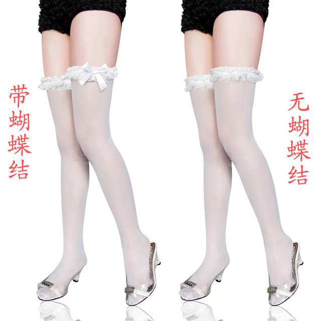 free shipping Sweet lace bow Japanese wrinkled stockings thigh socks knee-high socks 2027 can be equipped with straps Stockings