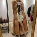 2016 Fox Fur Vest Natural Red Fox Fur New Fashion Long Jacket Genuine Fox Fur Outerwear Coat Whole Pelt Fox Fur Waitscoat 103170