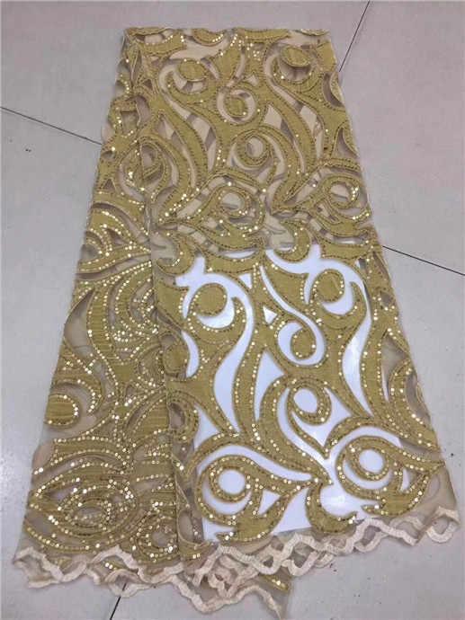 Нигерии кружевной ткани с пайетками 5yard/партия Модные золотые блестки ткань бархат высокого качества Зеленый Тюль Бесплатная доставка зеленый
