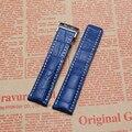 Chegada nova 22mm 24mm Preto Marrom azul Pulseira com Fecho de Implantação Genuine Relógio de Couro bandas Straps Pulseira Inoxidável