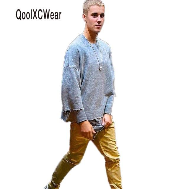 15918dea12e Новые для мужчин футболка Осенняя коллекция для три четверти мужской  Джастин Бибер одежда Канье Уэст двусторонняя