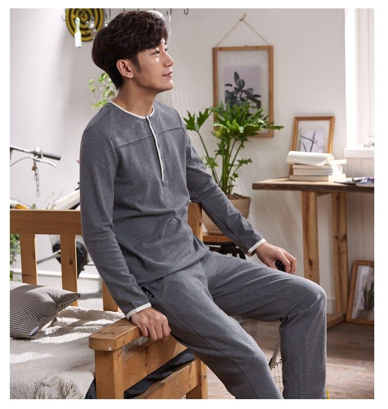 Compre Outono 100% Algodão Mens Pijama Casal Pijama Set Pijamas ... 2f1243716