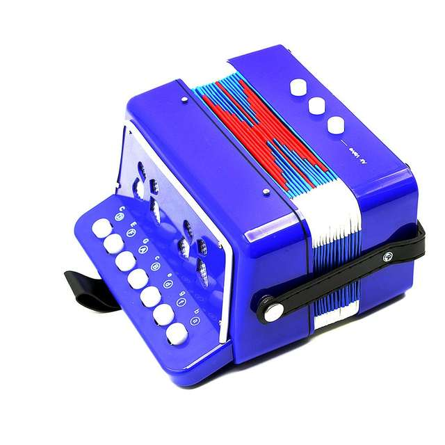 1PC Mini Kids Accordion 7-Key 3 Bass Educational Childrens Beginner  Practice Music Instrument Band Toy blue
