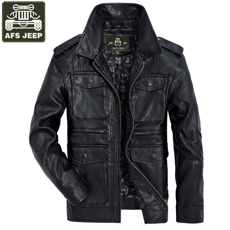 AFS JEEP Brand 2018 New Leather Jacket Mens PU Leather Jacket Solid Military Motorcycle Leather Jackets Men Outwear Coat M-XXXL