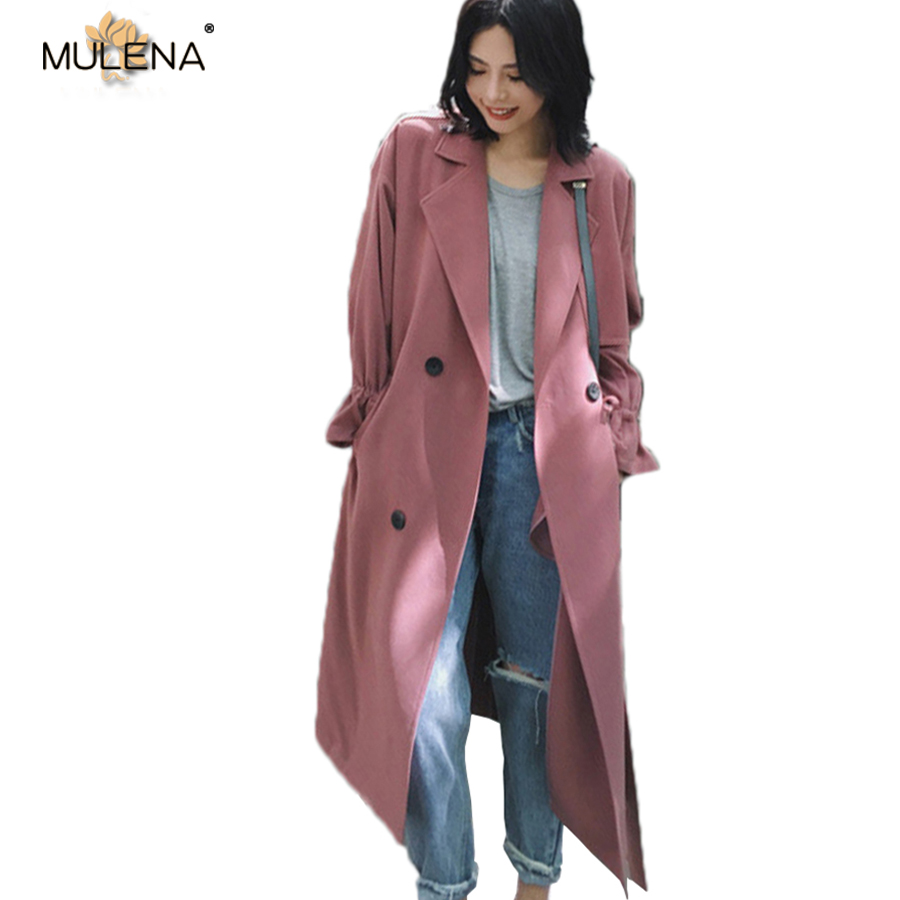 Mulena straight adjustable waist long   trench   coat women solid turn down collar double breasted pockets ladies outerwear spring