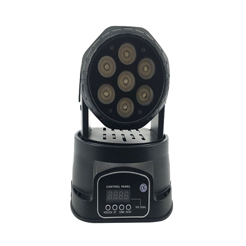 LED 7x12W RGBW Moving Head Stage Lighting Avancerad dj-lampor led tvätt mini 14 kanaler rgbw quad med avancerade 14 kanaler