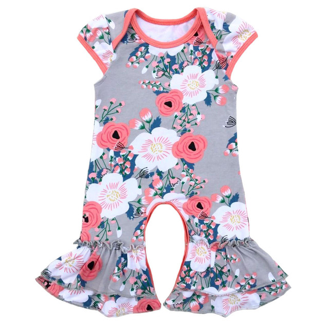 549845c82ecf Wholesale baby rompers kids clothes cotton boutique cap sleeve ruffle  floral short sleeve infant romper twins sisters nightgowns