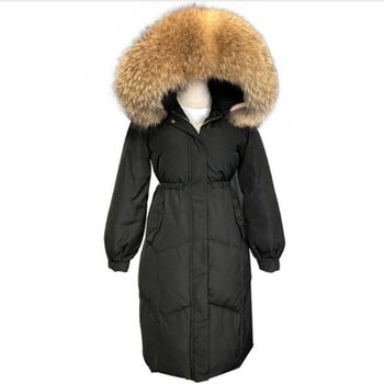 2018 new Winter Jacket Women Loose Fur collar Hooded Long Down Parkas White Duck Down Jacket Plus Size Female Warm Coat