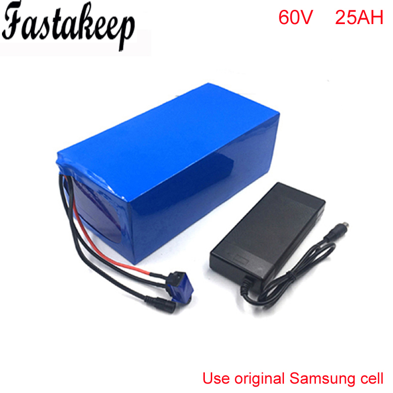 electric bike 60V 3000W battery pack with charger and BMS For 60v 25ah lithium battery pack For Samsung cell factory direct price 60v 60ah diy rechargeable lithium ion battery powered 3000w electric chopper bike