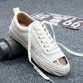 2017 Моды для Мужчин Повседневная Обувь Мужчин Зашнуровать Дышащий Холсте Мужской Обуви Прочный Non-slip Моды Плоские Туфли Студент обувь Zapatos
