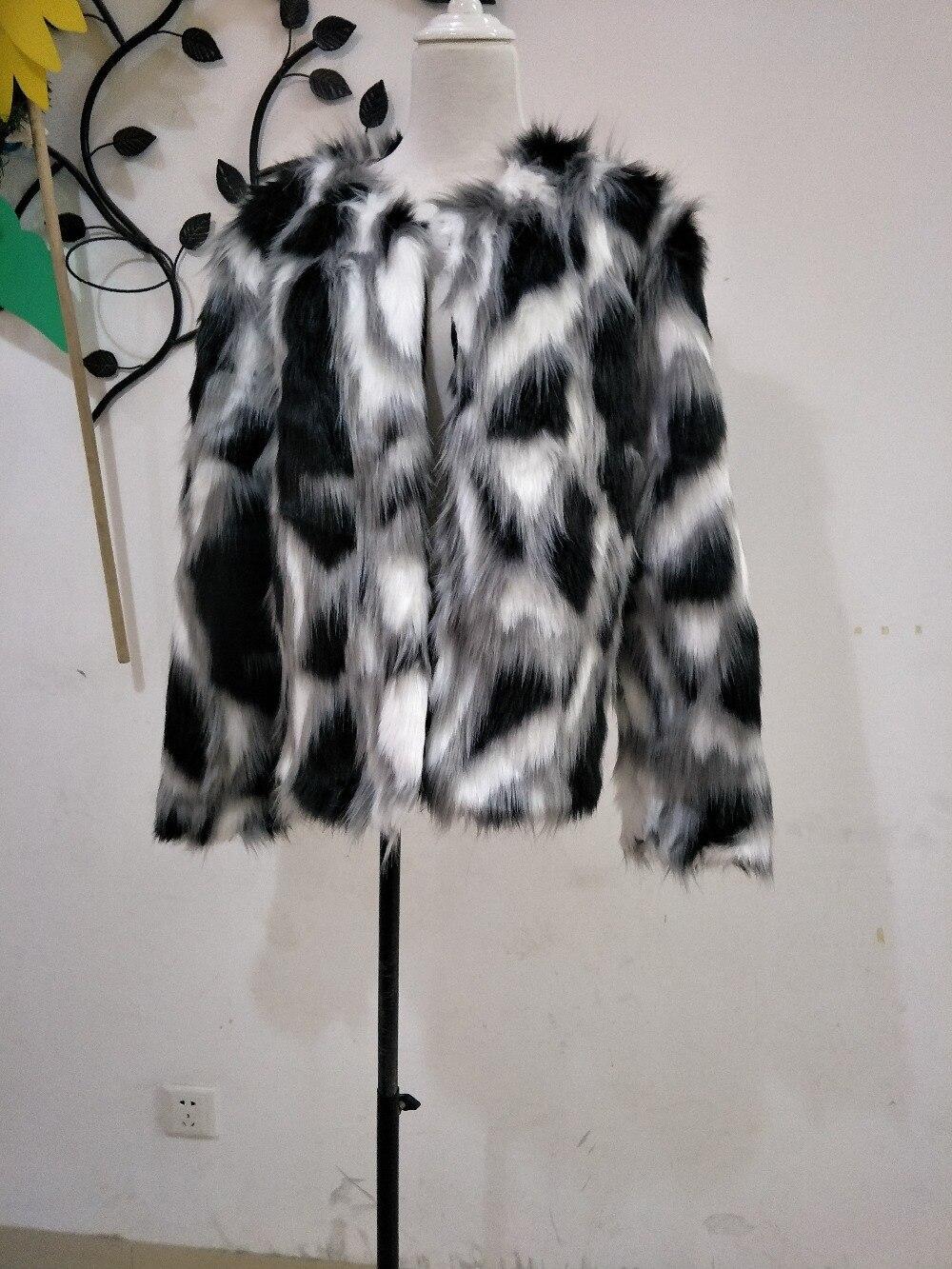 Women Mixed Color Man-Made Fur Jacket Casual Plus Size Faux Fur Coats Female Short Section Fur Outwear Casaco De Pele Falso Ck43 4