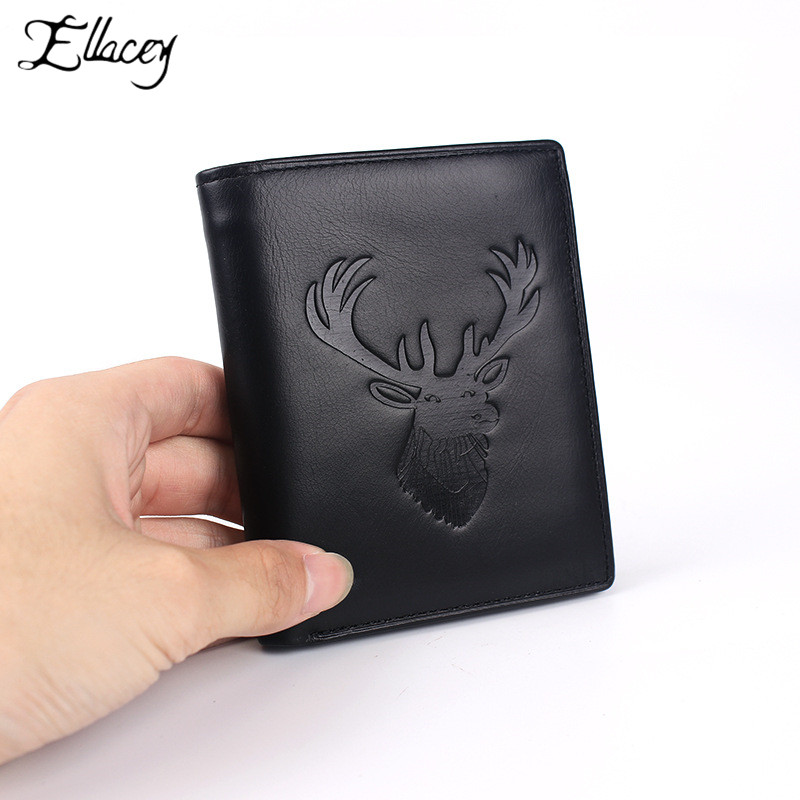 Deer Head Elk Embossed Wallet Men's Short Wallet Black Cow Leather Clutch Bag Genuine Leather Card Holder Vintage Retro Purse(China)