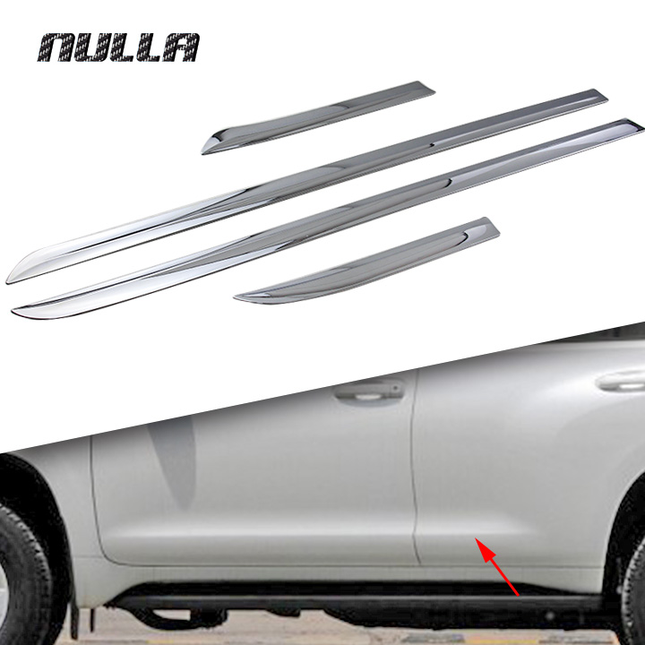 NULLA Door Side Trim Cover Molding Frame Decorative For Toyota Prado J150 2014 2015 Land Cruiser Car Stickers Accessory Chrome accessories fit for 2013 2014 2015 2016 hyundai grand santa fe side door line garnish body molding trim cover