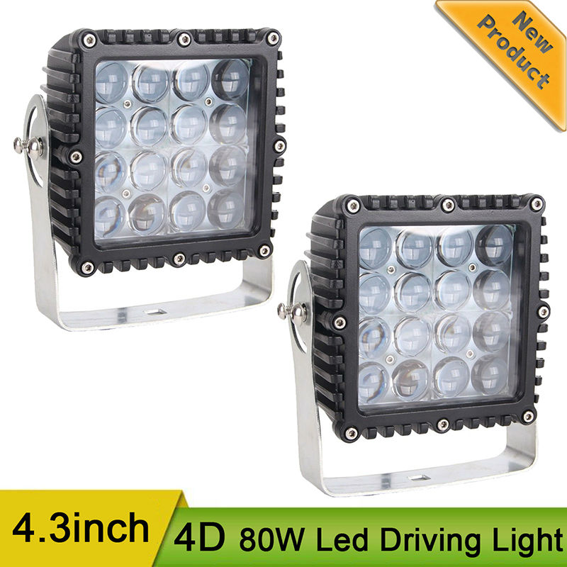 2pcs 5.3inch 4D 80W Led Driving Light 12V Waterproof Led Work Light Offroad Lamp for Off Road Pickup Motorcycle 4x4 SUV ATV 24V 18w cree chips led work light flood light 4x4 offroad car atv suv led driving worklight lamp off road fog lamp ip68 waterproof