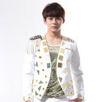 Gold Lens Men Suits Designs Rock Stage Costumes For Singers Men Sequin Blazer Dance Clothes Jacket