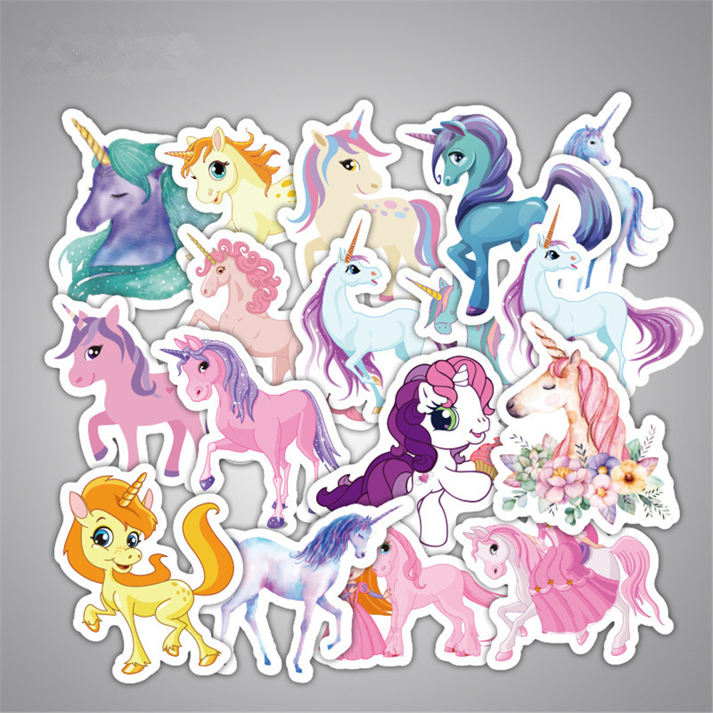 33pcs Mixed Dream Sticker Unicorn Cute Cartoon Anime Toy Kids Stickers For Diy Portable Phone Luggage Skateboard Room Stickers