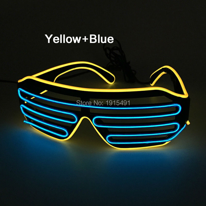 2017 New Attractive Luminous LED Shutter Glasses Holiday Lighting Colorful Glowing EL wire Glasses with 4 Functions of Driver