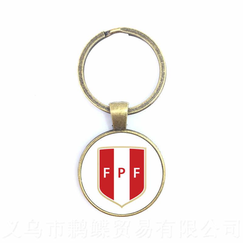 Totem De Time De Futebol Peru, da Croácia, da Tunísia, da Arábia Saudita, os Fãs de Futebol Senegal Cúpula De Vidro Pingente Chaveiro Anel Titular Souvenir