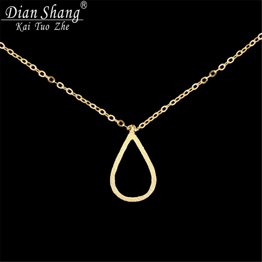 DIANSHANGKAITUOZHE 12017 Metal Gold Silver Simple Open Teardrop Pendant Necklace Women Choker Vintage Jewelry - Show store