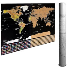 Scratch Off World Map - Travel with US States & Country Flags- Large Deluxe Edition Black Background Gold