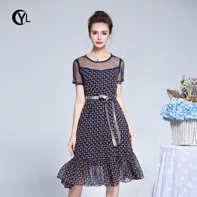 OUYALIN L 3XL 4XL 5XL Plus size Summer Dress 2018 Women Short sleeve Mesh A  line Ruffle Hem Sweet Floral Elegant Dresses W  Belt-in Dresses from Women s  ... cc8629b3bb5e