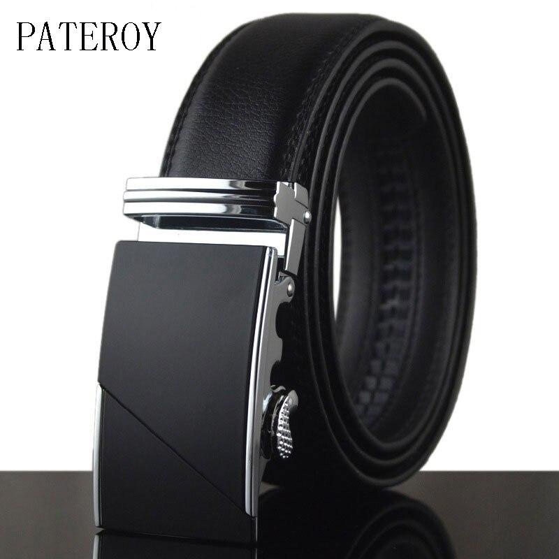 [PATEROY] Belt Designer Belts Men High Quality Ceinture Homme Luxury Cow Leather Belt Men Ceinture Automatic Buckle Silver Kemer hebilla cinturon ferrari