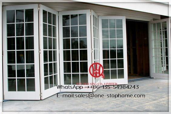 Aluminium Bifold French Doors,restaurants Tempered Glass Extrusion Profile Heat Insulation Bi-fold Door,outdoor Atio Door