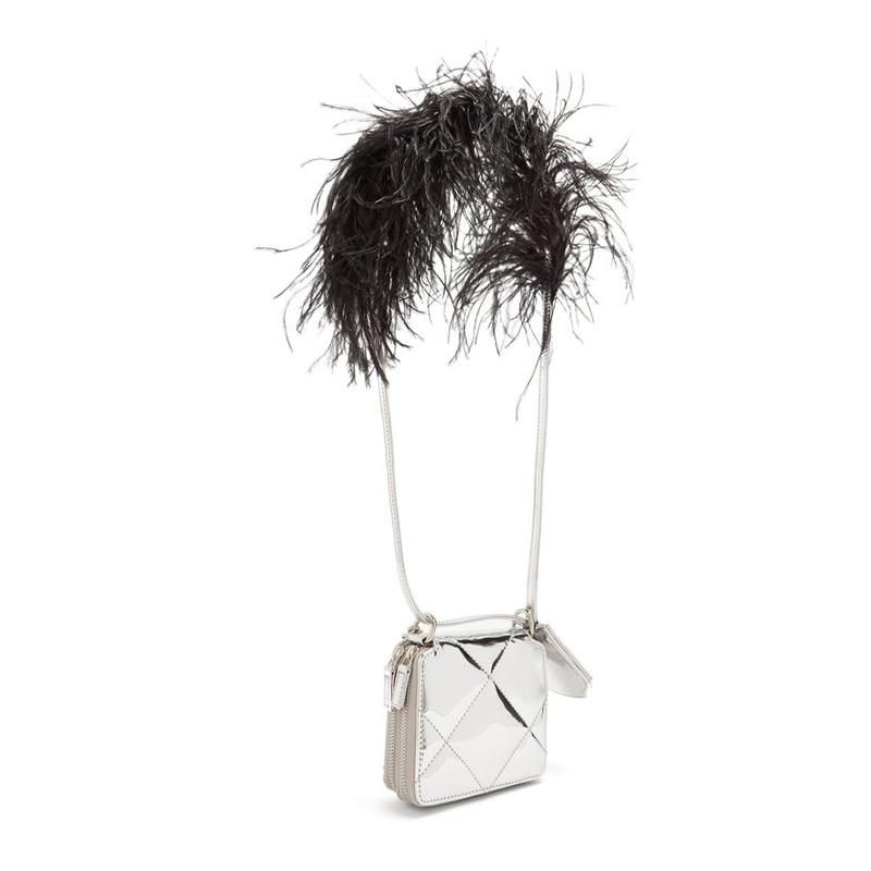 Design Sweet Laser Shoulder Bag Women Clutch Bag Feather Chain Patent Leather Girl's Handbag Flap Bag Sac A Main Hologram Silver