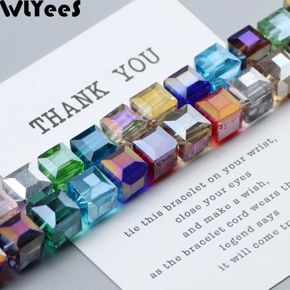 WLYeeS 10mm AB Color Austrian Square shape crystal beads 10pcs Glass Loose Spacer Beads For Necklace Earrings Pendant Making DIY