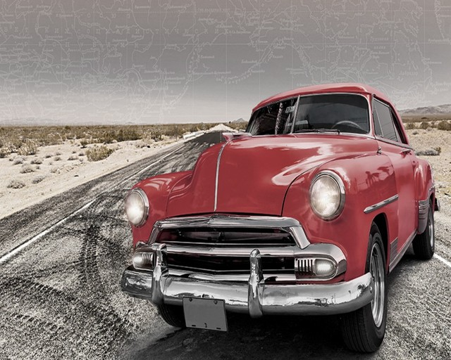Free Shipping Photo Wallpaper 3d Custom Route 66 Vintage Car Retro