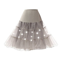 Abbille High Waist Tutu Skirt Silps Swing Rockabilly Petticoat Underskirt Crinoline Pettiskirt Wedding Bridal Retro Vintage