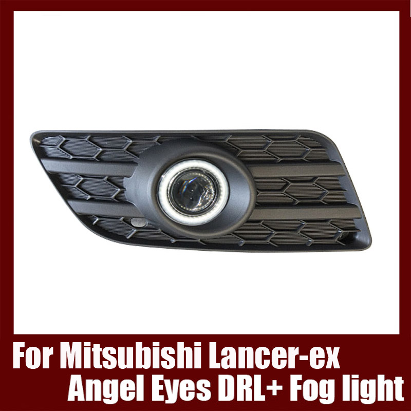 For Mitsubishi Lancer-ex 2013 COB Angel Eyes DRL with Fog lights Projector Lens Lamp Bumper Cover brand new superb led cob angel eyes hid lamp projector lens foglights for toyota corolla ex 2013