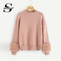 Sheinside Pink Faux Fur Contrast Solid Jumper Fashion 2018 Autumn Women Long Sleeve Pullover Casual Ladies Basic Jumper Sweater