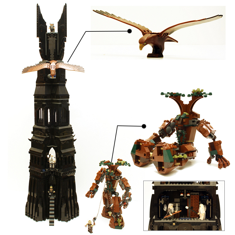 LEPIN 16010 The Lord of the Rings Two Tower of Orthanc GANDALF Mini GREY Figures 2430Pcs Building Blocks Bricks Compatible 10237