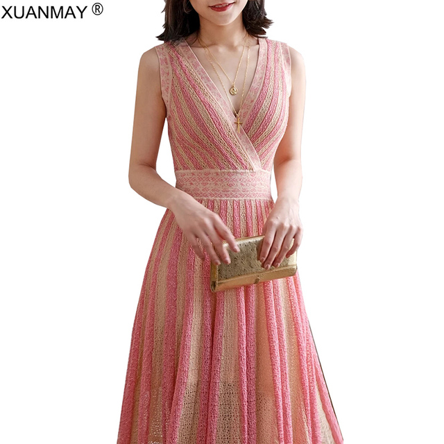 8b6094a3275df US $29.7 34% OFF|Aliexpress.com : Buy 2019 Summer Vest dress Over the knee  Stripe long style Vest Dress Elegant maxi Dress Sexy Slim Sweater Vest ...