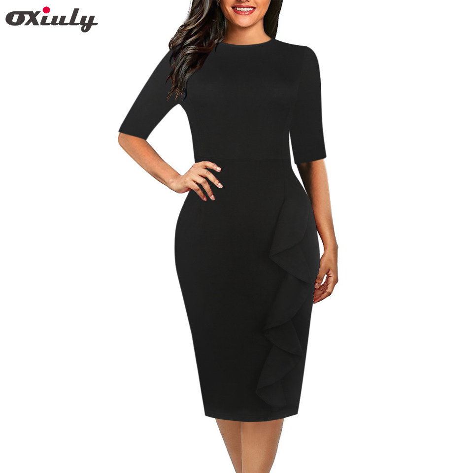 6eeff1fe2d Oxiuly Women Elegant Top quality cotton Blend Fashion Women Turn-down  Collar Party Knee-Length Dress S-XXL