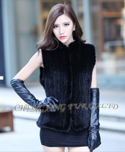 EMS FREE SHIPPING CX-G-B-13A Knit Mink Fur Vest New Products  ~ DROP SHIPPING