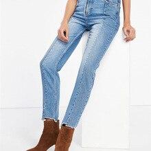 Guesod весна лето женские джинсы деним брюки с эффектом потертости с завышенной талией винтажные женские джинсовые брюки женские