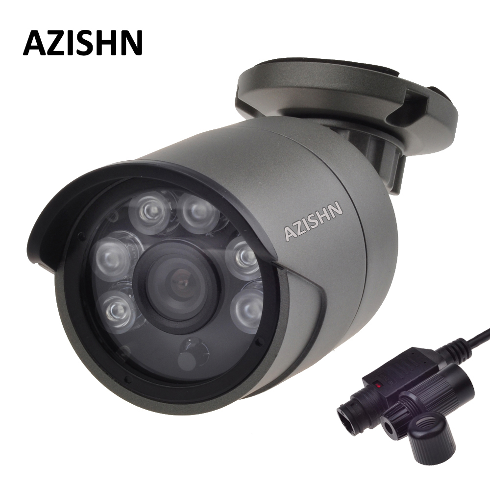 AZISHN IP Camera POE 720P/960P/1080P 6pcs ARRAY LED P2P ONVIF Waterproof Outdoor Metal IP66 Security CCTV Camera POE Cable