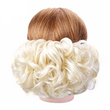 HidolA Chignon Clip Short Curly Synthetic Blonde Burg Big Bun Hair Extension With Two Plastic Combs in Hairpiece