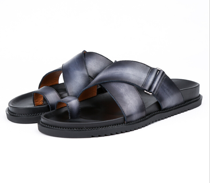 Provided Hottest Fashion Casual Style Slip On Slippers High Quality Genuine Leather Sandals Drop Shipping Large Size Eu44 Men's Shoes