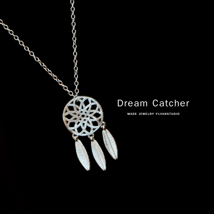 Dream catcher feather 925 sterling silver necklaces pendants for dream catcher feather 925 sterling silver necklaces pendants for women fashion dreamcatcher necklace girl jewelry gifts in pendant necklaces from jewelry mozeypictures Choice Image