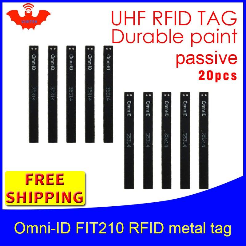 UHF RFID metal tag omni-ID fit 210 915m 868mhz Alien Higgs3 EPC 20pcs free shipping durable paint very thin passive RFID tags