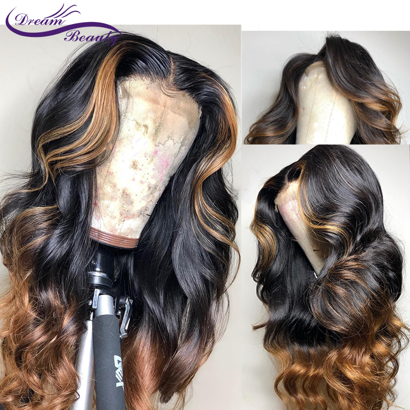 Ombre Highlight 1b/27 Honey Blonde Lace front Human Hair Wigs Pre Plucked hairline Remy with Baby Hair Dream beauty(China)