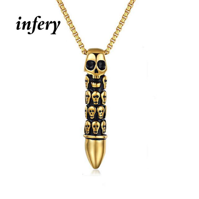 Infery tough guy hot sale fashion stainless steel skeleton skull infery tough guy hot sale fashion stainless steel skeleton skull gold gun bullet necklaces pendants men mozeypictures Gallery